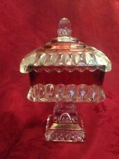 Westmoreland Glass Ruby Flashed Square Covered Candy Dish Preserve Stand