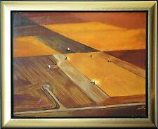 USA Getreideernte Mähdrescher Landarbeit Ölgemälde 1976 48 x 64 cm sign. Keith