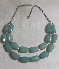 "Silvertone Metal Link Chain Opaque Green Plastic Bead Tiered Bib 19"" Necklace"