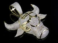2CT Taurus Bull Zodiac Animal Diamond Men's Pendant Charm 10K Yellow Gold Over