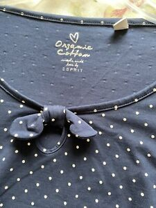 Esprit Blue Spotty T-shirt Top In Size Large