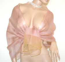STOLA ROSA CIPRIA 30% seta donna foulard velato coprispalle scialle elegante A82