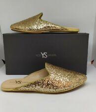 100% Authentic YOSI SAMRA Womens Vidi Mule, Champagne Glitter  Size-6 only