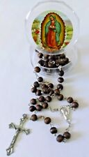 """NEW SILVER TONE WITH BROWN BEADS VIRGEN DE GUADALUPE 20"""" ROSARY ROSARIO (D1)"""