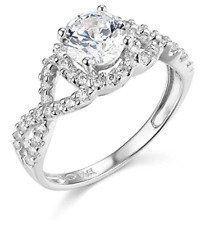2 Ct Round Cut Engagement Wedding Ring Halo Twisted Shank Solid 14K White Gold