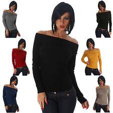 Pullover Feinripp einfarbig Sweater Einheitsgröße 32 34 36 Damen Strick Pulli