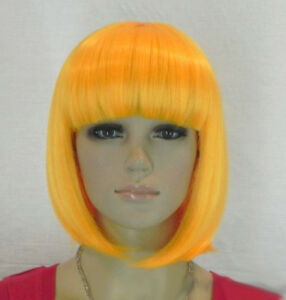 Orange Yellow Short Straight Bangs Bob Women Girl Cosplay Hair Wig Wigs+Wig Cap