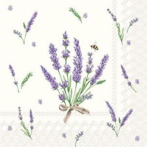 Boston International - Bouquet of Lavender Cream Cocktail Napkin - C728460