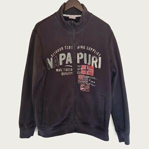 """NAPAPIJRI Mens Navy Full Zip Sweatshirt Top (Size XL/40-42"""" Chest) Spell Out"""
