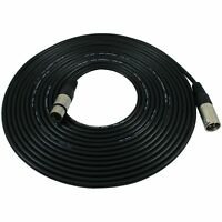 GLS Audio 25 foot Mic Cable Patch Cords - XLR Male to XLR Female Black Microp...