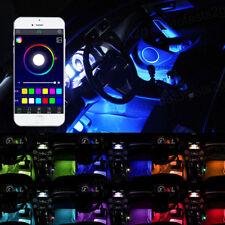 4x LED RGB Auto Interior Atmosphere Neon Strip Light Wireless Phone Control Set
