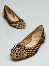 LOUBOUTIN MIX BROWN KNOTTED MESH BEIGE SUEDE BOW SPIKES CAP TOE FLATS 37 $695