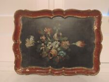 Vintage French Hand Painted Wooden Tray Wood Platter Roses