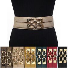 Classy Women Elastic Waist Wide Belt Stretch PU Leather Gold Metal Hook Circle