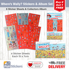 Where's Wally Stickers, 6 Sheets, Each sheet 14 x 7cm with Sticker Album