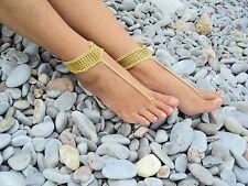 Crochet Barefoot Sandals-Gold Diamond-Handmade-Foot Jewelry-One size-Beach