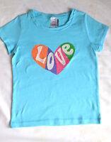 Mini Boden girls blue 'Love' cotton jersey short sleeve top t- shirt summer 3-4