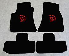 Autoteppich Fußmatten für Dodge Challenger Hellcat ab08' Velours sw rot 4tlg Neu