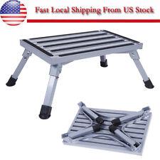 Aluminum Platform Step Stool Folding Car Trailer Camper Portable Working Ladder