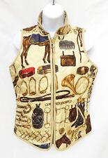 RALPH LAUREN Womens Tan Brown Silk Equestrian Quilted Zip Reversible Vest P S