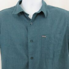 Hurley L Teal Green SS Button Front Shirt Brushed Casual Super Soft EUC