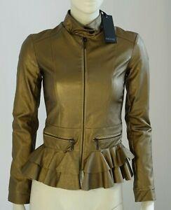 Giubbino ecopelle giacca corta donna con balze bronzo HONY TG 40