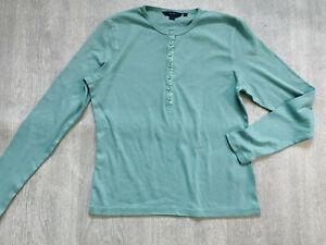 BODEN  crew-neck long sleeve cotton top size 12.  NEW  silk trim