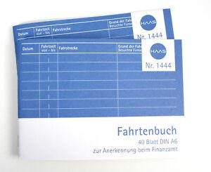 2 Stück Fahrtenbuch Fahrtenbücher DIN A6 40 Blatt Wegsteckennachweis BA/BI