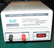 QJE 10-12amp Switch Mode 240v 12v DC Power Supply PSU for CB Two-Way Radio etc