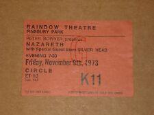 Nazareth/Silver Head 1973 Rainbow Theatre Concert Ticket