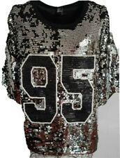 BLACK & SILVER 95 SHORT SLEEVE SEQUINED JERSEY TOP O-NECK TOP