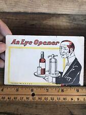 Eye Opener Antique Postcard Barkeep Butler