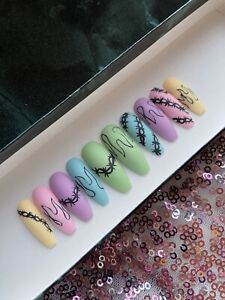 Hand Painted False Nails Coffin Press On Nails Pastel Egirl flame Thorn Long
