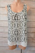 JEANS WEST top Sz 10 medium grey black white floral tank top
