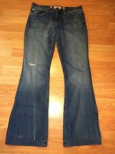 JUICY COUTURE STRETCH DISTRESSED DENIM FLARE JEANS SIZE 27