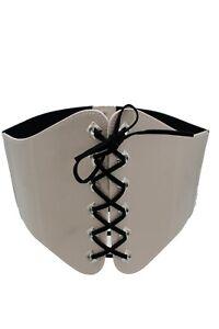 Women Weekend Wide Nude Beige Color Faux Leather Elastic Fabric Corset Belt S M