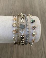 New Authentic Chan Luu Abalone Mix Multi Strand Bronze Leather Bracelet