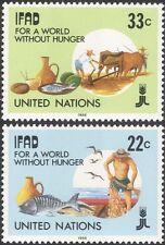 ONU (NY) 1988 agricoltura/alimentari/Bovini/ARATRO/PESCE/Pesca/FAO/FFH Set 2v (n27788)