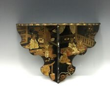 Chinese Antique Victorian Black Lacquerware Wall Shelf Scenic Gold Polychrome