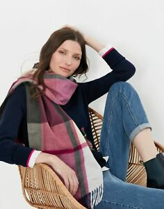 Joules Womens Bracken Check Woven Warm Handle Scarf - Black Check - One Size