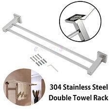 Bathroom Towel Rack Stainless Stell Holder Rail Chrome Bar Wall Mounted 600mm