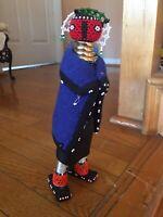 "OOAK 11"" African Cloth Beaded Doll Art Vintage Handmade Tribal"