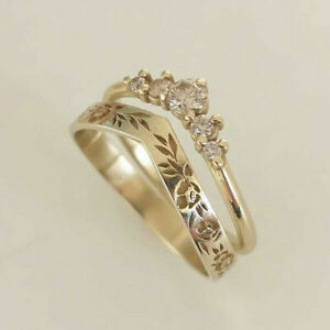 14K Gold White Sapphire V-shaped Wreath Ring Set Wedding Birthday Jewelry Size 7