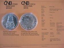 República Checa 2014 200 coronas moneda de plata coin St bu-Bohumil Hrabal -