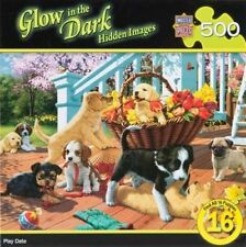 Glow In The Dark Hidden Images Puppies 500 Piece Master Pieces Jigsaw Puzzle