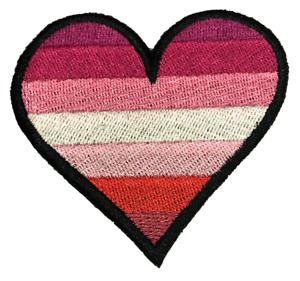 Lipstick Lesbian Heart LGBTQ Pride Embroidered Sew / Iron on Patch Badge (A)