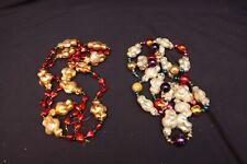 Lot of 2 Blown Mercury Glass Bear Polar Hearts Christmas Tree Garland 5' Radko