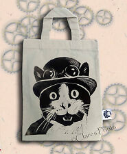 Steampunk Gato Crema Bolso linograbado mano impreso arte de compras pequeñas
