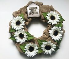 Door Wreath Home Sweet Home Decor Handmade Burlap Wreath Floral Seasonal Design