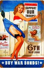 Buy War Bonds Pin-Up Advertisement Metal Sign